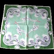 Vintage Seagull Handkerchief Hankie Hanky / Ocean Waves Border / Green Hankie / Vanity Item /