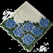 Vintage Blue Floral Handkerchief / Hanky / Hankie / Embroidered Details / Vanity Item / Womans