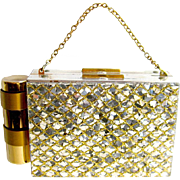 Glitter Confetti Compact Purse / 1950s Fashion Accessory / Makeup Compact / Evening Purse