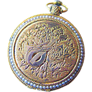 Vintage Pocket Watch Style Compact Engraved with Faux Pearl Accents / Womans Gift / Max Factor