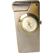 intage Pocket Lighter with Lucerne Swiss Wind-up Watch - Vintage Cigarette Lighter - Lucerne W