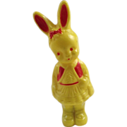 SOLD Girl Bunny Rabbit celluloid Baby Rattle Signed Irwin USA Toy Yellow Red Plastic