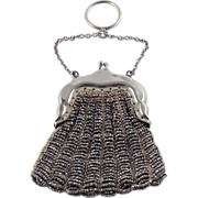 Victorian Purse 800 Silver Chatelaine Steel Cut Finger Mesh Beaded Signed German Bostonia ...