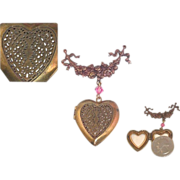 Pin LOCKET Brooch 2 Heart Signed  Pink Crystal Art Nouveau Style Pididdly