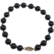 Black Beaded Bracelet Gold Tone / Sterling Silver Glass Beads