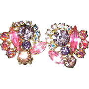 D & E Juliana Lilac Purple Pink Flower Earrings Glass Rhinestones Aurora Borealis Gold Tone ..