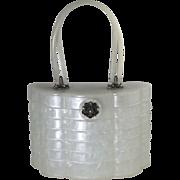 Beehive Pill Box Lucite Purse Mid Century Rhinestone Clasp Handbag White Wilardy Pearlized ...