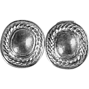 Sterling Earrings Silver Puffy Rope Mid Century Signed Square & Oval Clips