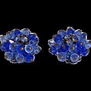 Alice Caviness Earrings Rhinestone Earrings Cobalt to Royal Blue Glass SIGNED