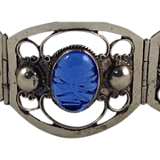 Wide Mexican Sterling Bracelet Taxco Sapphire Blue Carved Glass Panel Beaded Silver