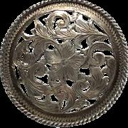 Sterling Door Knob Dresser Drawer Pull  Nouveau Style Trumpet Flower Vine Silver Signed Handle
