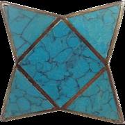 Atomic Los Castillo Mid Century Modernist Brass Blue Turquoise Inlay Dresser Drawer Metal Knob