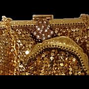 2 Mesh Purse and Coin Rose & Gold Tone Metal Paste Glass Diamond Rhinestone Art ...