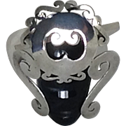 SOLD Large Tribal Indian Mask Pin Testing Sterling Silver Carved Black Glass Signed Mexico Bro
