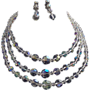 Set Three Strand AB Necklace Earrings Crystal Round Bicone Paste Graduating Demi