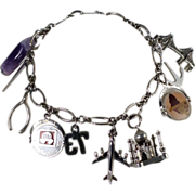 GOOD LUCK TRAVEL Sterling Silver 10 Charm Bracelet FLip  Airplane Purple Amethyst Mickey Mouse
