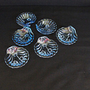 "(6)Cambridge ""Caprice""  Footed Shells in Blue"