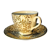 Royal Seagrave cup and saucer in gilt ferns
