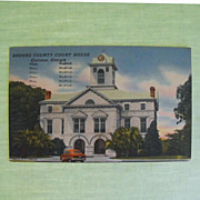 REDUCED Postcard: Brooks County Courthouse: Quitman, Ga. C: 1953