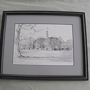 "Print of Charles H Overly pencil sketch of ""The Capital, Williamsburg, Virgina""  sig"