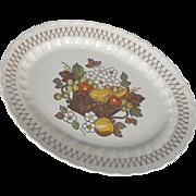 """Vernonware Fruit Basket by Metlox 14"""" platter    circa 1970"""