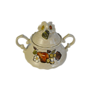 Vernonware Fruit Basket by Metlox sugar bowl with lid   circa 1970