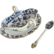 REDUCED Meissen Gravy Boat with attached underplate and ladle:  Blue Onion pattern