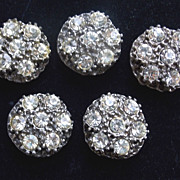 Five (5) Unique Vintage Pot Metal Rhinestone Heavy Coat Buttons - Large and Heavy