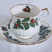 Yuletide EROS  Footed Cup and Saucer Set in Rosina/Queen's China - Discontinued