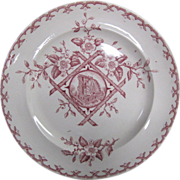 REDUCED Aesthetic Movement Dinner Plate Alaska Pattern in red