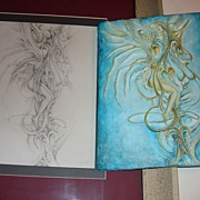 Abstract Female Nude Pencil Drawing And 3D Plaster Work of Art
