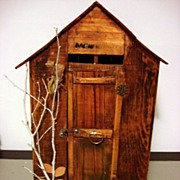 Vintage Hand Made Old man Wooden Outhouse