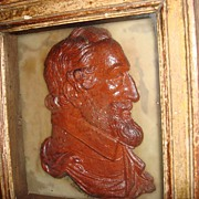 Antique Wooden Carved Or Pottery Bust Of Ulysses S Grant  USA 18Th President Framed  And ...
