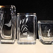 Vintage Crystal Clear Engraved and Signed Vases