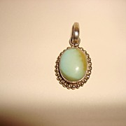 Vintage Sterling Pendant With Turquoise Cabochon