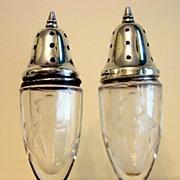 Vintage Engraved Crystal Salt & Pepper With Sterling Lids