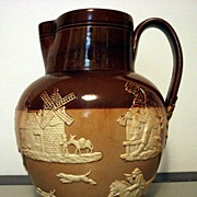 Antique Doulton Lambeth Salt Glazed Stoneware Jug With Applied Hunt Scenes Decorations-England