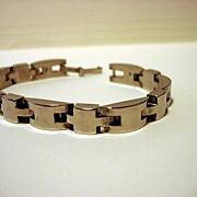 Vintage Silver Dome Shape Link Bracelet