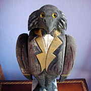 Rare Folk Art Hand Carved Personified Crow Whirligig