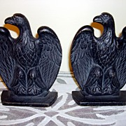 SOLD Vintage American Eagle Cast Iron Book Ends