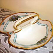 Limoges France Hand Painted & Gilt Handle tray
