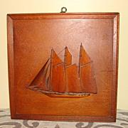 Folk Art Framed 3D Wooden Sail Ship