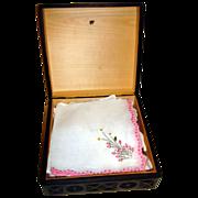 Vintage Wooden Carved Box With Ladies Hankies