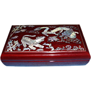 1950's Mother of Pearl Inlay Oriental Lacquer Cigarette Box
