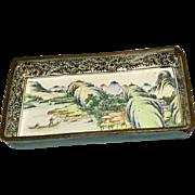 Old Oriental Enamel On Copper Small Tray