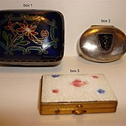 Sterling, Cloisonne Pill Boxes And An Enamel Stamp Box