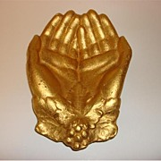 Vintage Gilded Cast Iron hands Candy Dish