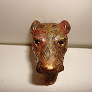 Vintage Wooden Hand Carved And Painted Bottle Stopper Cork - Dog head