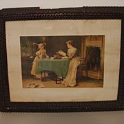 antique Tramp Art Frame With Litho by Forbes Litho Mfg Co. Copyright 1890