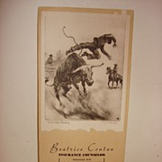 1944 NY Insurance Advertising Blotter With R H Palenske Etching